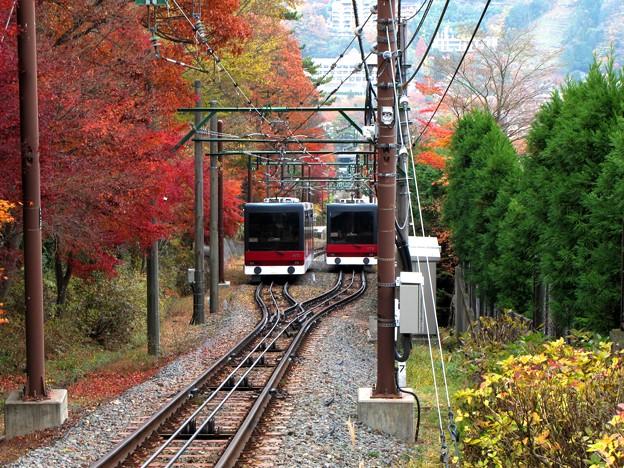 箱根登山ケーブルカーの交差場所