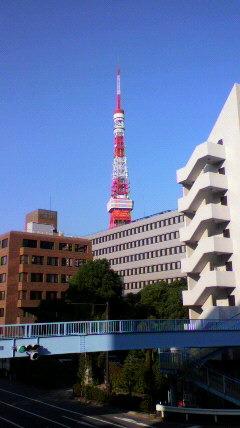 月が空に張り付き、東京タワ...