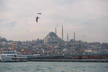 2011.01.28 トルコ イスタンブル ボスフォラス海峡クルーズ-スルタンアフメト・モスクとガラタ橋