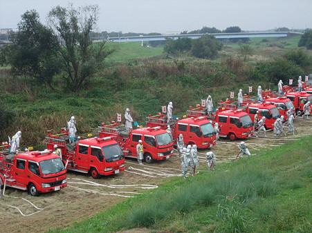 消防団の車が勢揃い